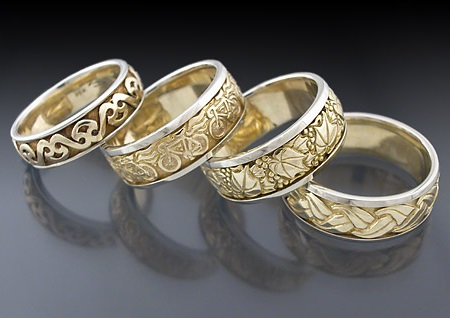 carved wedding rings